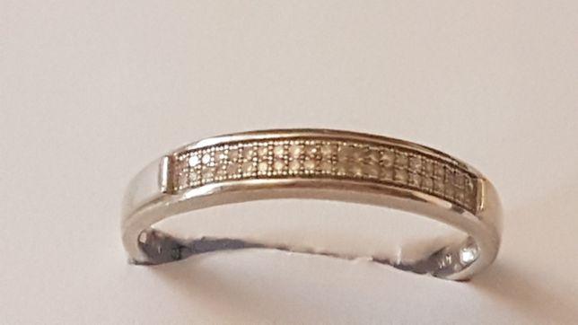 Pierscionek ala obrączka damska lub męska białe złoto z brylantami