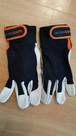 Rękawice robocze ze skóry naturalnej białej