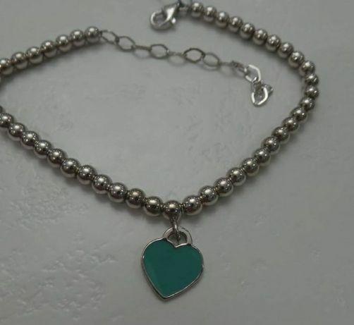Серебряный браслет Тиффани, Tiffany с сердечком (эмаль), серебро 925