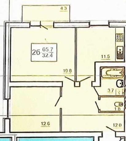 """ЖК  """" ОАЗИС """" 2- квартира 65.7м2    ,X"""