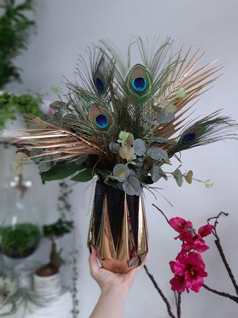 Dekoracja na stół sztuczne kwiaty kompozycja kwiatowa wazonie pióra