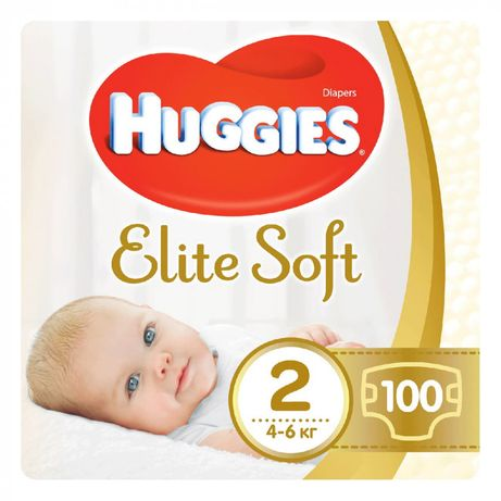 Подгузники Huggies Elite Soft 2 (4-6 кг) 100 шт