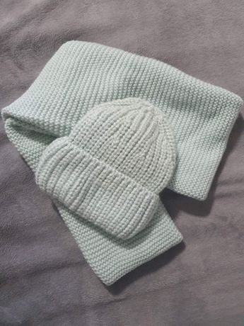 Снуд шапка комплект теплый мятный цвет