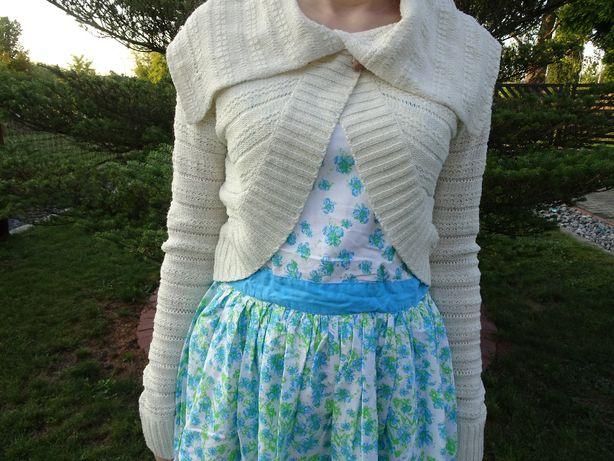 Kremowe bolerko dziewczęce/ sweterek dziewczęcy kremowy.