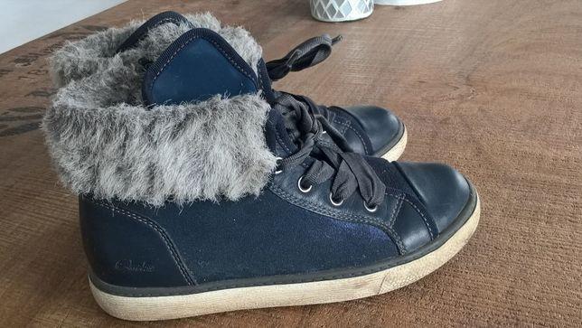 Trampki sneakersy Clarks futerko r.31 skóra naturalna