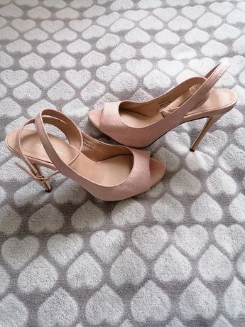 Pudrowo różowe sandałki New Look
