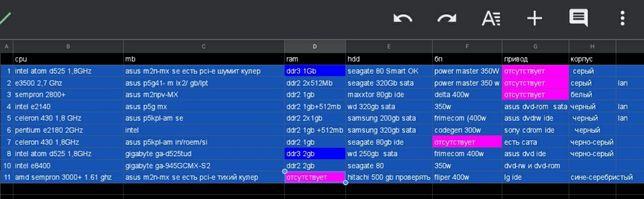 7 системных блоков компьютеров для интернета intel amd ddr2 ddr3