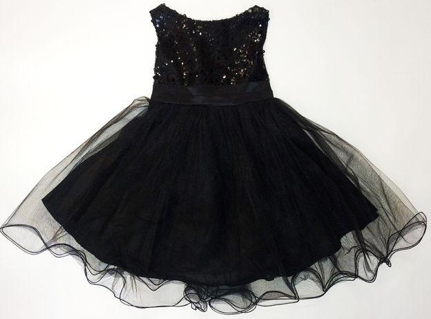 Нарядное черное платье в пайетках на 5 - 6 лет