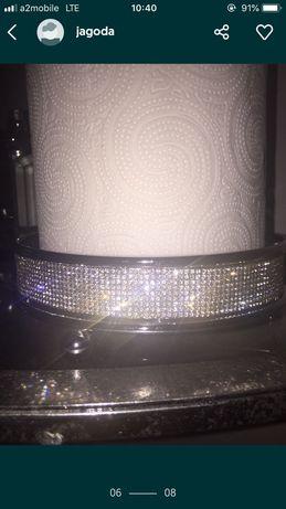 Stojak z krysztalkami glamour błyszczący srebrny na ręcznik papierowy