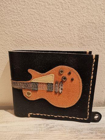 Skórzany portfel gitara Gibson dla muzyka gitarzysty skóra naturalna