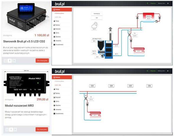 Sterownik Bruli V3.5 do pieca z podajnikiem i nierdzewny zasobnik