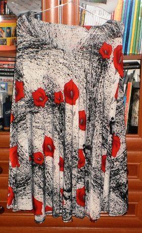 Красивая юбка в красные цветы