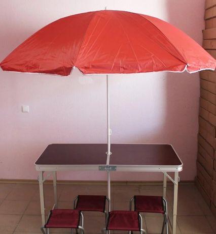 Усилений стіл для пікніка + зонт (коричневий та інші) Стол для пикника
