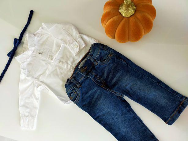 Komplet koszula jeansy mucha Sinsay 68 cm