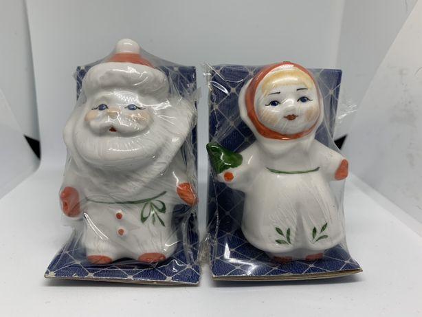 Фарфоровые статуэтки Дед Мороз и Снегурочка.Коростень.