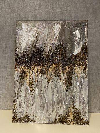 Шикарная интерьерная картина абстракция Fluid art Заказ