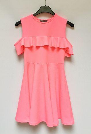 Sukienka Primark 140 cm 9 10 lat Różowa Neonowa Falabnka Zara H&M C&A