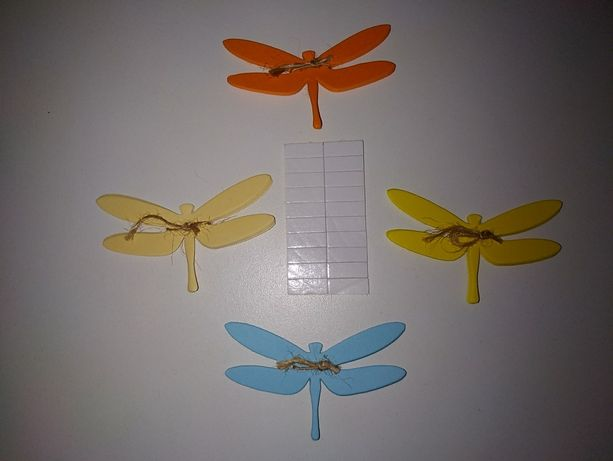 20 шт цветные бумажные стрекозы декор на окна и стены