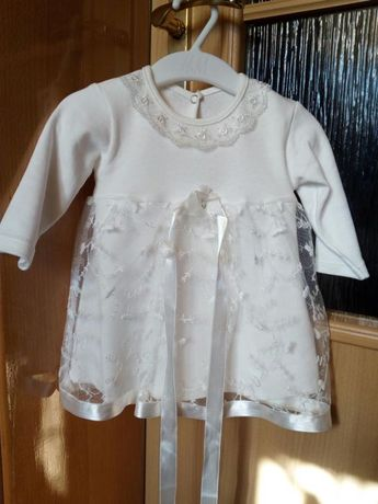 Biała sukienka na chrzest 62/68