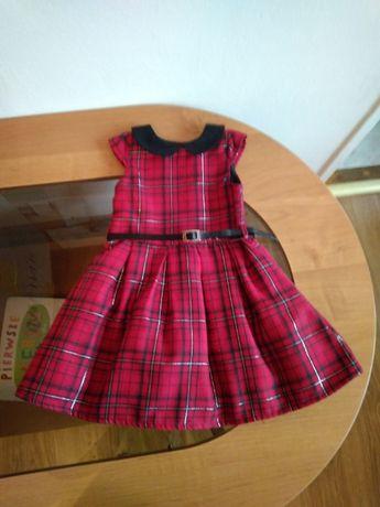 Nowa sukienka dla dziewczyki, czerwona w kratkę, z kołnierzykiem r. 8