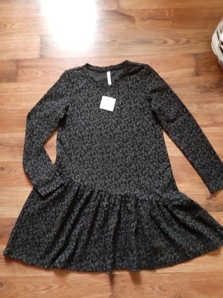 Sukienka Coccodrillo roz. 146 piękna, czarno-szara w centki:)