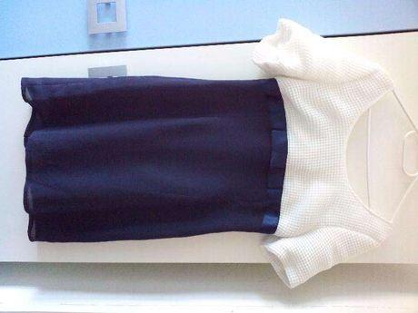 Śliczna elegancka wizytowa granatowo-biała sukienka r 36/38 j. nowa!