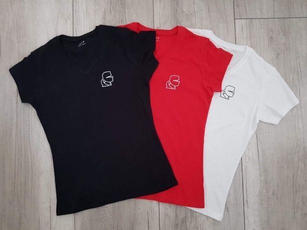 KARL LAGERFELD T-shirt damski face V-neck