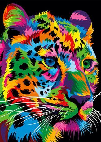 """Алмазная вышивка """"Радужный Тигр"""" (Полная выкладка) Набор"""