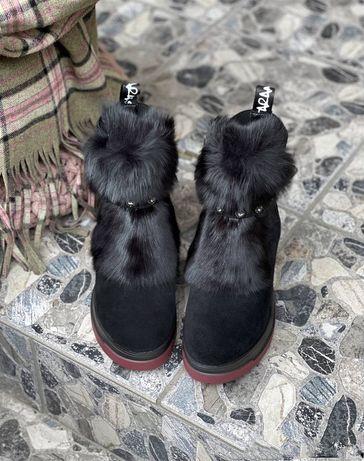 Ботинки зима чёрный замш с кроликом 36,37,38,39,40