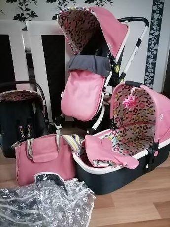 wózek COSATTO Ooba 3w1 różowy spacerówka, fotelik elegancki premium