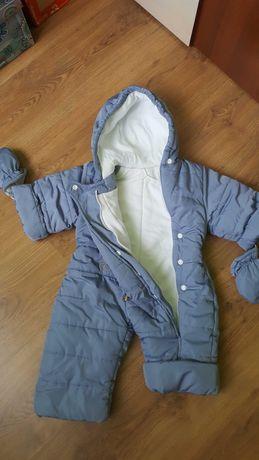 Kombinezon ciepły na zimę z bucikami i rękawiczkami rozm.62-68