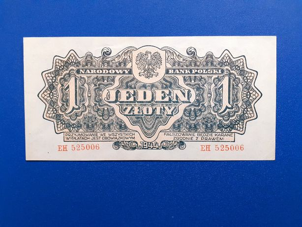 Banknot 1 złoty 1944, obowiązkOWYM, seria EH