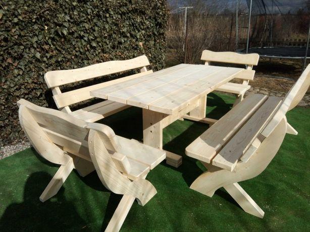meble ogrodowe stół drewniany ogrodowy z ławkami