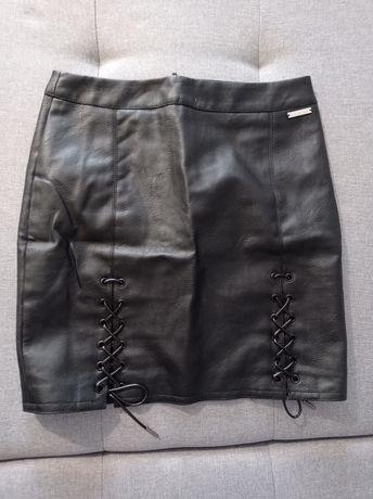 Spódniczka mini z ekoskóry S czarna
