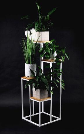 Kwietnik Metalowy Stojak na cztery kwiaty Drewno 112cm biały LOFT