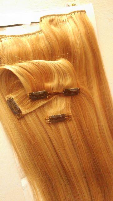 Новые человеческие волосы на заколках, русые 62 см. 170 gr
