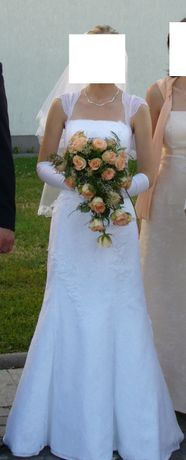 Kobieca suknia ślubna - biała - rozmiar M