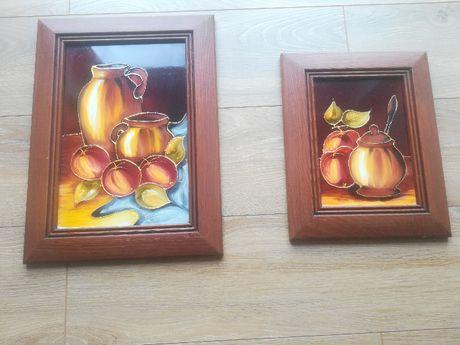 2 obrazy na szkle malowane