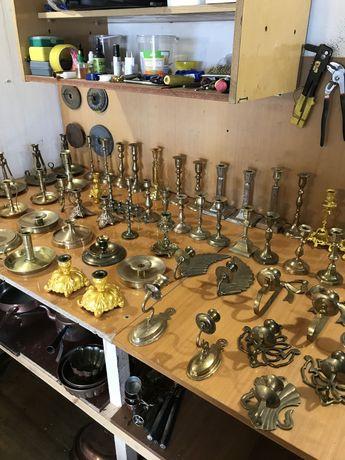 Подсвечники старинные бронза,латунь,олово,медь.