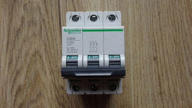 Wyłącznik nadprądowy Schneider C60N 25A, 3-biegunowy, char. C, 415 VAC