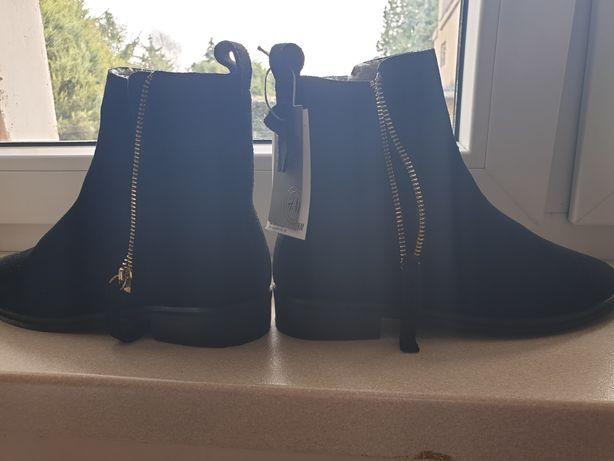 Nowe Zamszowe czarne botki H&M r.37