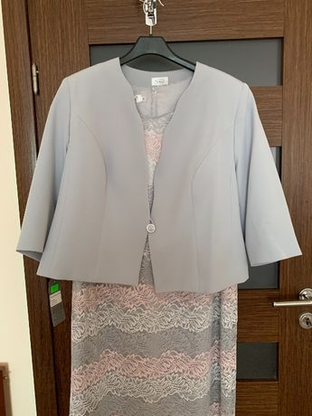 Komplet sukienka żakiet 52 duży rozmiar