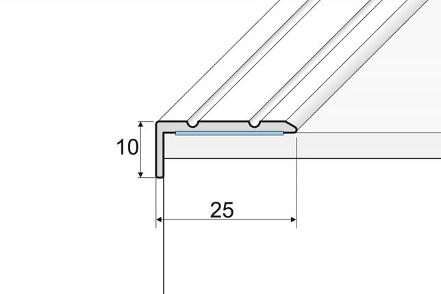 Effector nowy kątownik A31 25x10 listwa progowa schodowa srebro 90cm