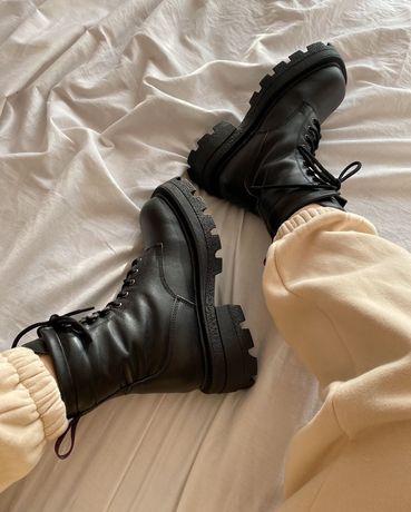 Женские зимние ботинки в стиле Prada Eytys Michigan на меху натур кожа