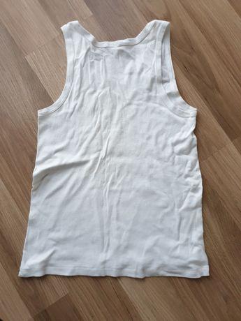 Bluzka bez rękawów, męska , biała / koszulka