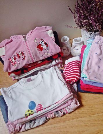 Paka ubranek dla dziewczynki r 68 spodnie bluzeczki body pajace