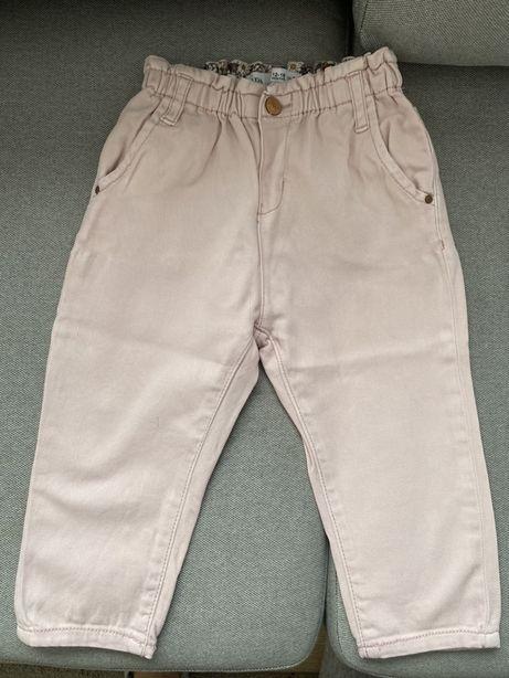 Spodnie jeansowe dżinsowe ZARA różowe Paperbag z gumką 86 stan idealny