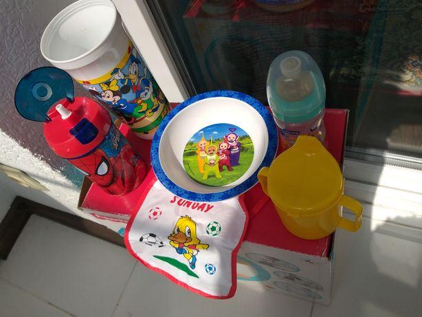 Тарелка, поильник, чашка, бутылочка chicco и avent, ложка nuk.