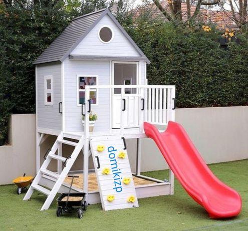 Детские домики из дерева и горки