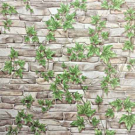 Tapeta ścienna cegła kamień mur piaskowiec bluszcz liście